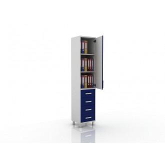 Шкаф для документов (глухая дверца сверху, снизу три ящика) 105-001-15 в Краснодаре
