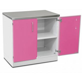 Шкаф медицинский нижний для хранения инструментов и перевязочного материала (с полками, двухстворчатый) в Краснодаре