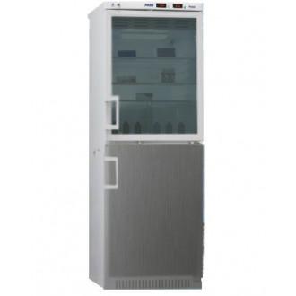Холодильник фармацевтический двухкамерный ХФД-280(ТС) (140/140 л) с дверью из металлопласта и с тонированной стеклянной дверью серебряного цвета в Краснодаре